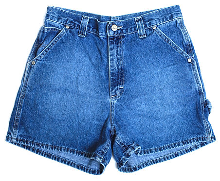 Vintage Lee Medium/DarkBlue Wash Carpenter High Waisted Rise Denim Jean Shorts