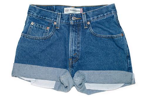 Vintage Levi's Dark Wash High Rise Cuffed Shorts - 26/27