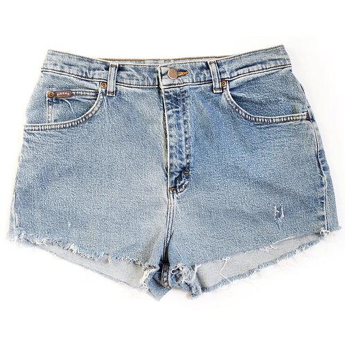 Vintage Riders By Lee Medium Blue Wash High Waisted Rise Stretch Denim Jean Cut Offs Shorts