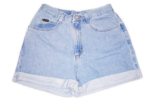Vintage Lee Light Wash High Rise Factory Cuffed Shorts - Sz 28