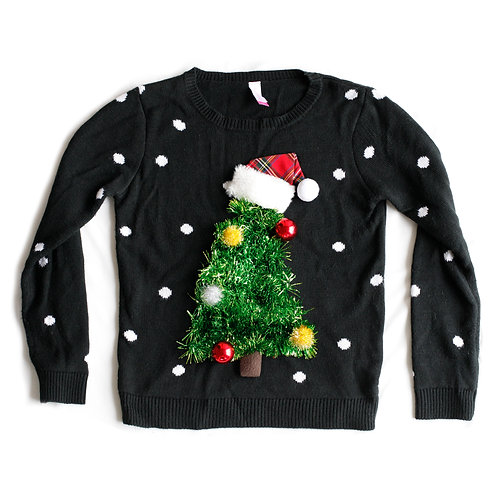 No Boundaries 3D Green Xmas Tree Black Ugly Christmas Crew Neck Knit Sweater Party Red Santa Hat Ornaments Decorations XS/S