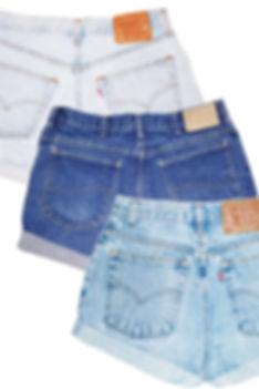 Vintage High Waisted Rise Levi's Blue Denim Jean Cut Offs Cuffed Shorts