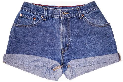 Vintage Levi's Medium/Dark Wash High Rise Cuffed Shorts - Sz 27/28