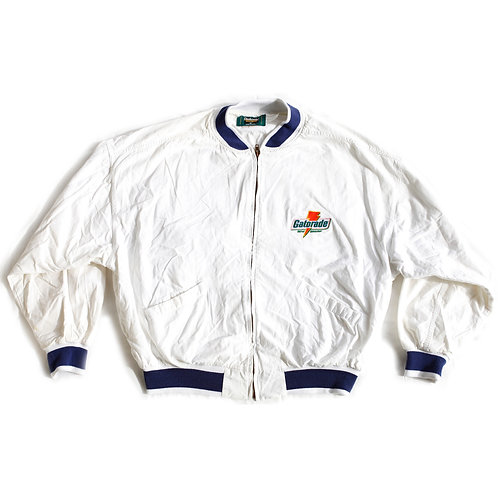 Rare Vintage 90s Gatorade Thirst Quencher White and Blue Embroidered Logo Full Zip Bomber Jacket - XL