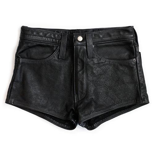 Vintage Leather Black High Rise Shorts - 25