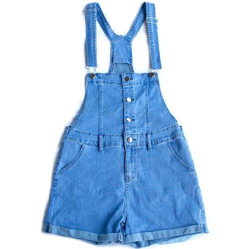 Button Down Stretch Denim Blue Jean Shortalls Overalls Shorts - Medium