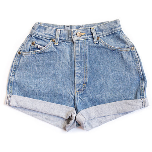 Vintage Lee Medium Wash High Rise Cuffed Shorts - 23
