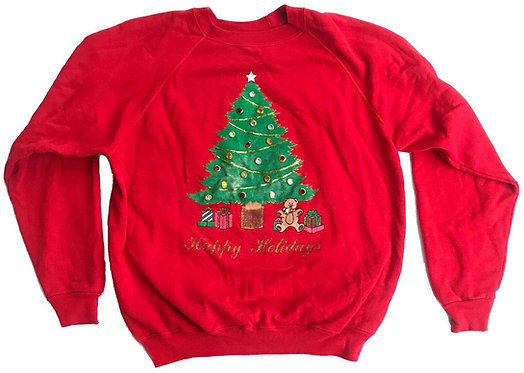 """Vintage Ugly Christmas Sweater """"Happy Holidays"""" Party - XL"""