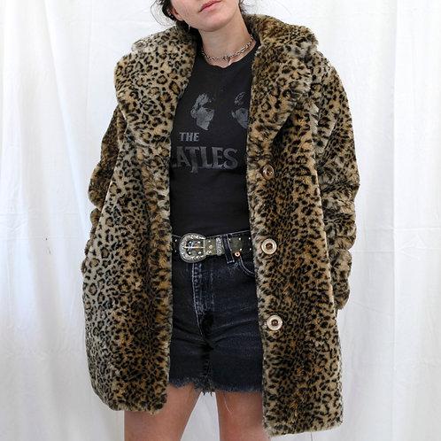 Vintage 90s/Y2k Leopard / Cheetah Animal Print Long Brown Faux Fur Lined Coat / Jacket