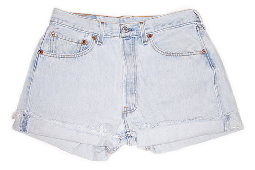 Vintage Levi's Light Wash High Rise Cut Offs Cuffed Shorts - Sz 28/29