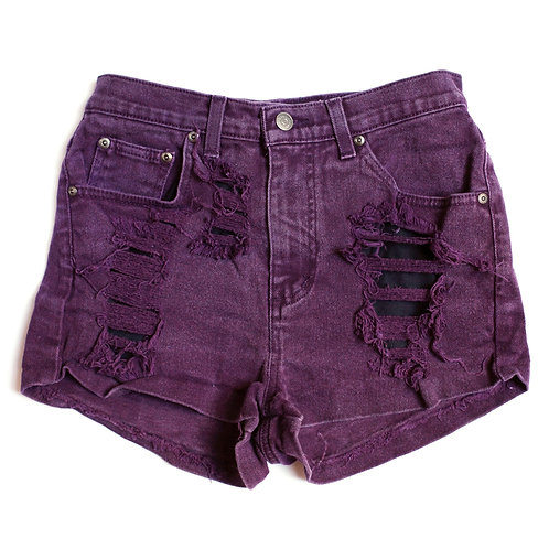 Vintage Maroon High Rise Distressed Shorts - 26