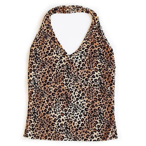 Vintage Y2k Amy Byer California Leopard Cheetah Print Halter Tank Top