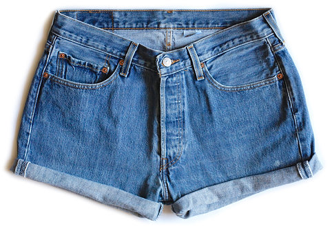 Vintage Levi's 501s High Rise Button Fly Denim Shorts - 31