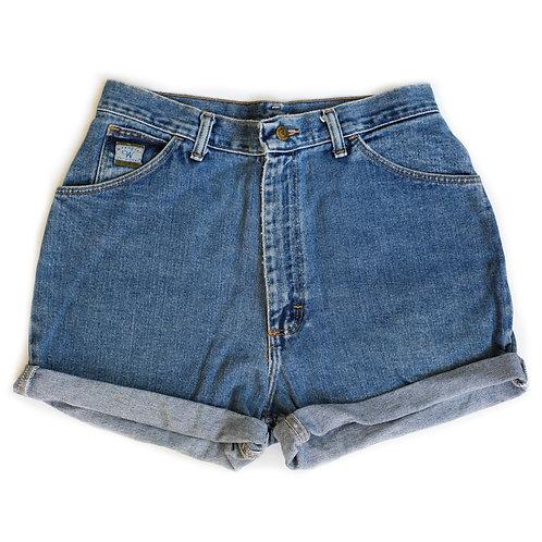 Vintage Wrangler Medium Wash High Rise Denim Cuffed Shorts - 30