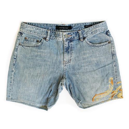Vintage Calvin Klein Embroidered Low-Mid Rise Denim Shorts - 30/31