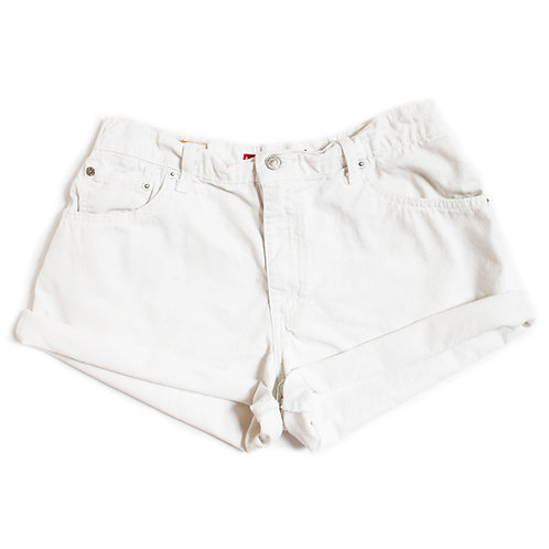 Vintage Levi's White High Rise Denim Cuffed Shorts - 28/29