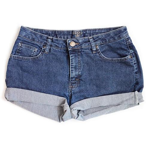 Vintage Lee Medium Wash Mid-High Rise Denim Cuffed Shorts - 32