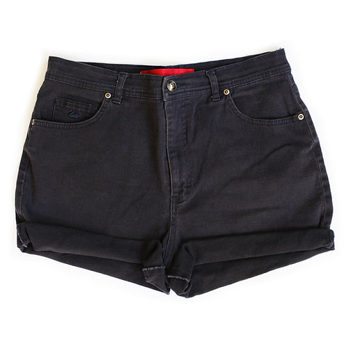Vintage Black High Rise Denim Shorts - 33/34