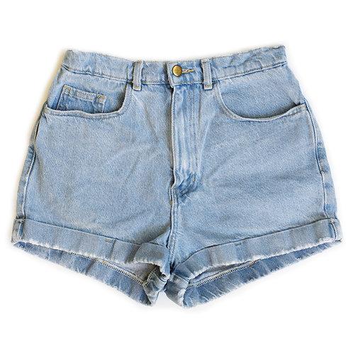 Vintage American Apparel Light Wash High Rise Denim Factory Cuffed Shorts - 28