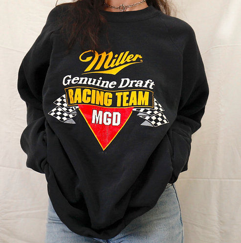 Vintage Miller Genuine Draft Beer Lager Racing Crewneck Pullover Navy Black Sweatshirt / Sweater - XL