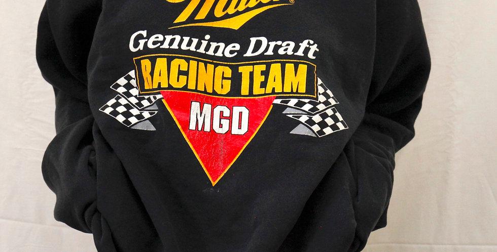 Vintage Miller Genuine Draft Beer Lager Racing Crewneck Pullover Navy Black Sweatshirt / Sweater - XL