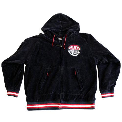 Vintage 90s FUBU Harlem Globetrotters Black White and Red Velour HoodieZip Up Sweatshirt Jacket - L