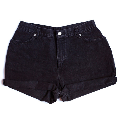 Vintage Black High Rise Cuffed Shorts - 31