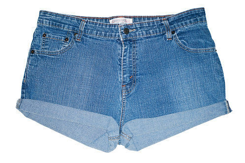 Vintage Levi's Medium/Dark Blue Wash High Rise Cuffed Shorts - Sz 37