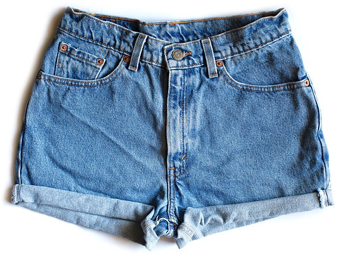 Vintage Levi's Medium Blue Wash High Waisted / Rise Cuffed Denim / Jean Shorts