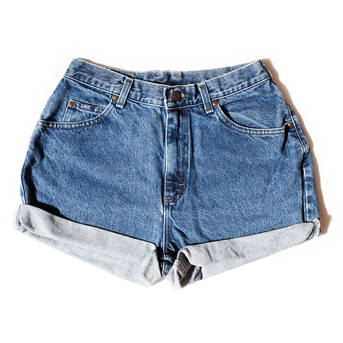Vintage Lee Medium Wash High Rise Cuffed Shorts - 29