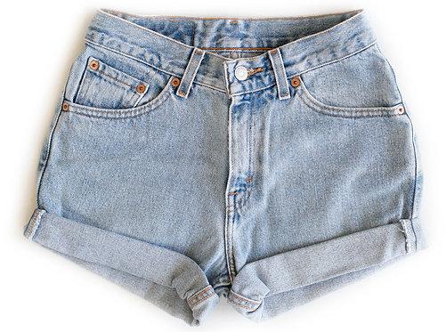 Vintage Levi's Light/Medium Blue Wash High Rise Cuffed Shorts - Sz 24