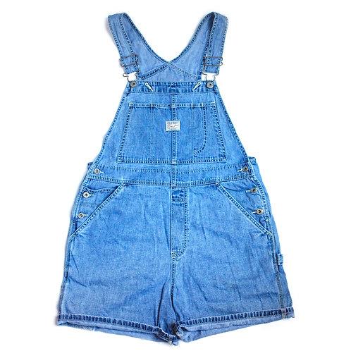 Vintage 90s Old Navy Carpenter Blue Denim / Jean Shortalls / Overalls / Cuffed Shorts - M