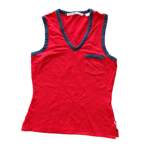 Vintage Y2k Tommy Hilfiger Red & Blue Pocket V-Neck Tank Top