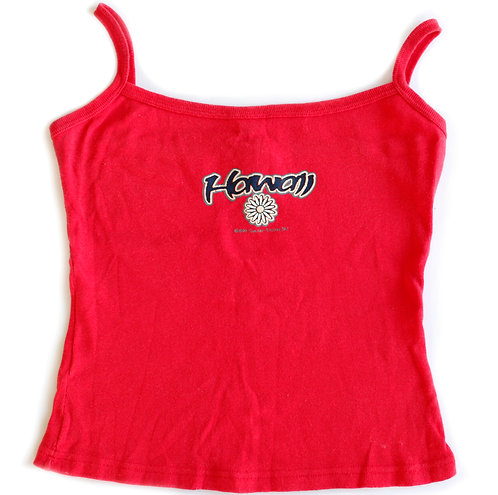Vintage 1999 90s/Y2k Red Hawaii Daisy Flower Spellout Tank Top