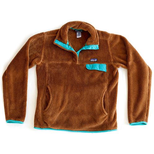 Vintage Women's Patagonia Synchilla Half Snap-T Brown Teal / Turquoise / Aqua Blue Pullover Sweater Jacket - S