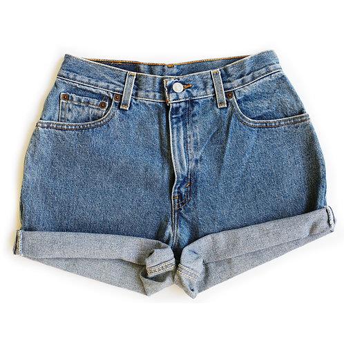 Vintage Levi's Medium Wash High Rise Cuffed Denim Shorts - 26