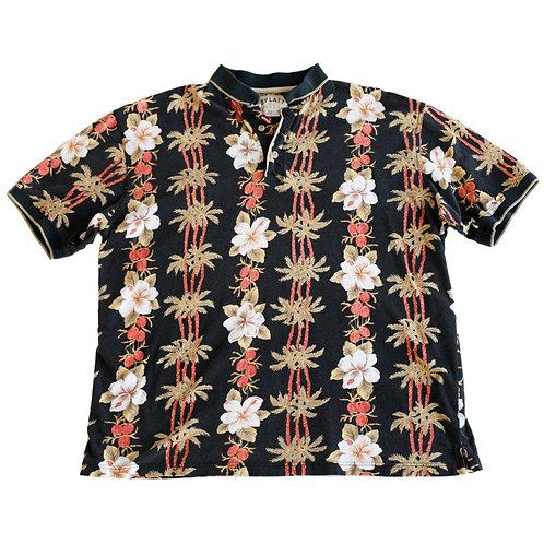 Vintage Y2k Splatt Hawaiian Flower Black Red and Green Collared Short Sleeve Tropical Beach Polo Shirt