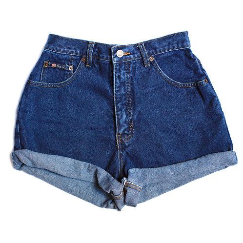 Vintage Dark Wash High Rise Shorts - 28