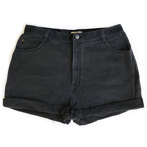 Vintage Black High Rise Denim Shorts - 37