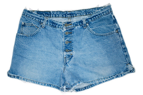 Vintage Jordache Medium Wash High Rise Exposed Button Fly Shorts - 34/35