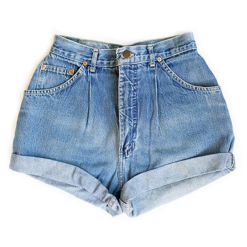 Vintage Lee Medium Wash Pleated High Rise Denim Shorts - 28