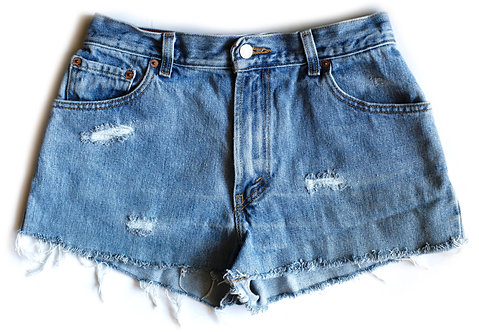 Vintage Levi's Medium Wash High Rise Cut Off Denim Shorts - 28