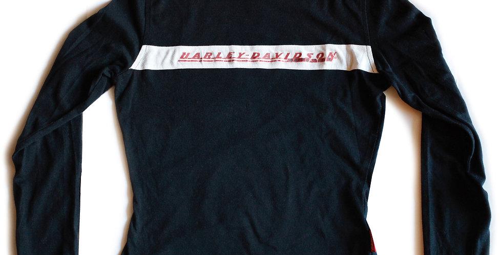 Vintage Harley Davidson Black Spellout Embroidered Logo Long Sleeve Shirt