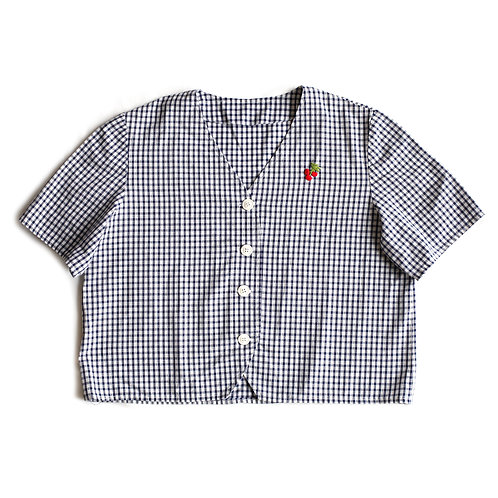Vintage Cherry Patch Plaid Gingham Navy Blue & White Short Sleeve Boxy V-Neck Button Up Down Blouse Top - M/L