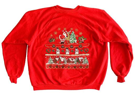 Vintage Ugly Christmas Sweater Party Santa Sweatshirt - XXL