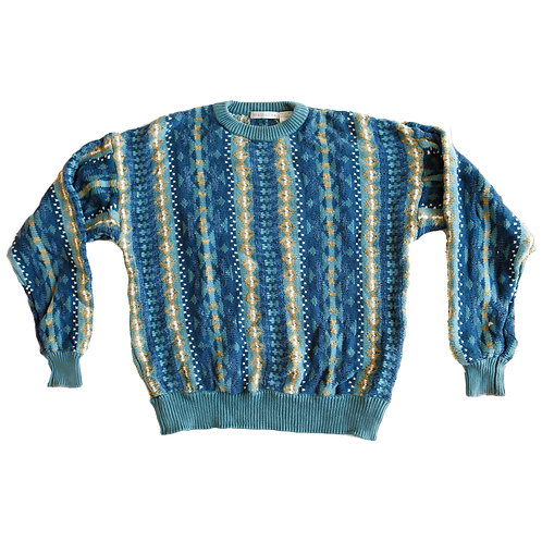 Vintage Striped Knit Cosby Grandpa Sweater