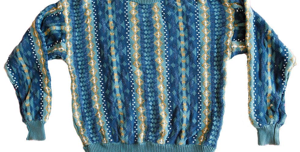Vintage Striped Knit Cosby Grandpa Sweater