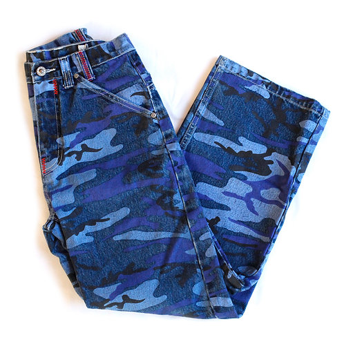Vintage Y2k Paco High Waisted / Rise Heavyweight Painted Coated Blue Camouflage Zipper Wide Leg Denim Jeans / Pants - 26