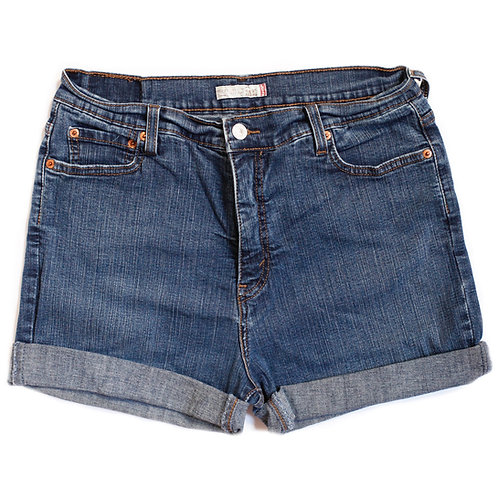 Vintage Levi's Dark Wash High Rise Cuffed Shorts - 34
