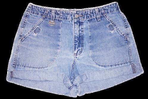Vintage Light/Medium Blue Wash High Rise Cuffed Shorts - Sz 28/29